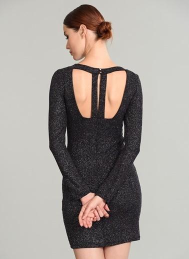 People By Fabrika Sırt Detaylı Simli Elbise Mürdüm